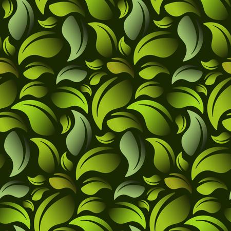 Groene bladeren op een groene achtergrond naadloze vector illustratie. Vector EPS10.