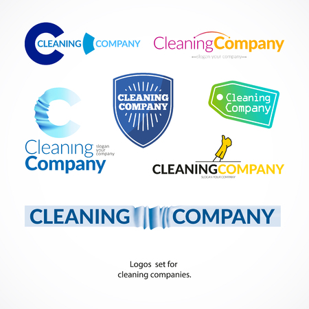 whisk broom: Vector collection of flat logo for cleaning company. Clearing service insignia. Cleaning industry flat icons.