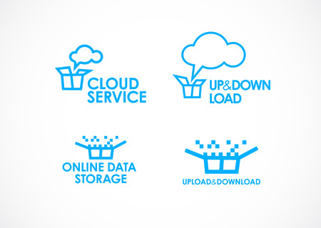 Cloud Logo,Cloud Services,Cloud Computing. Gear Logo. Vector Logo Template
