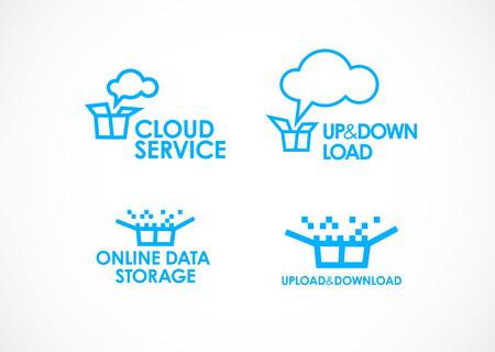 Cloud Logo,Cloud Services,Cloud Computing. Gear Logo. Vector Logo Template