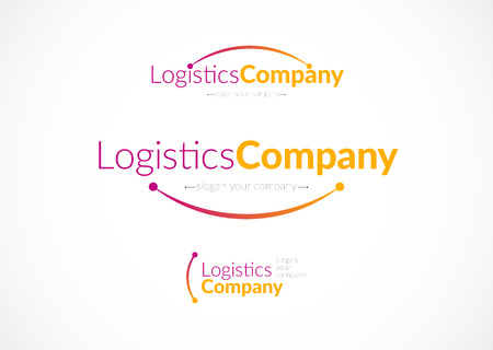 Vector flat logo template for logistics and delivery company. Shipping service insignia design.