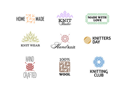 Set of vintage retro knitting badges, labels and  elements, retro symbols for local yarn shop, knit club, handmade artist or knitwear company