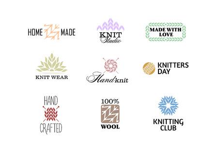 gomitoli di lana: Set di epoca badge retrò maglia, etichette ed elementi, simboli retrò per negozio di filati locale, club di maglia, artista a mano o maglificio Vettoriali
