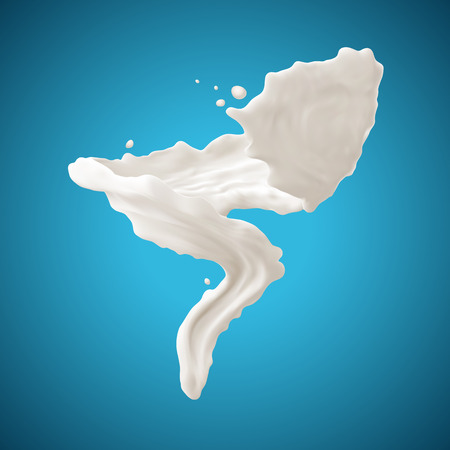 yogurt: Milk splashes isolated on blue background. Gradient Mesh.