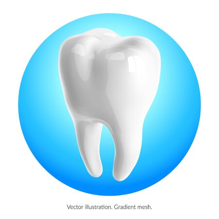 Tooth on a blue background. gradient mesh Vettoriali