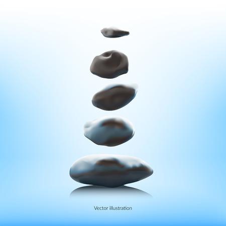 Magical stones floating over a water surface. Digital illustration. Zen Illustration