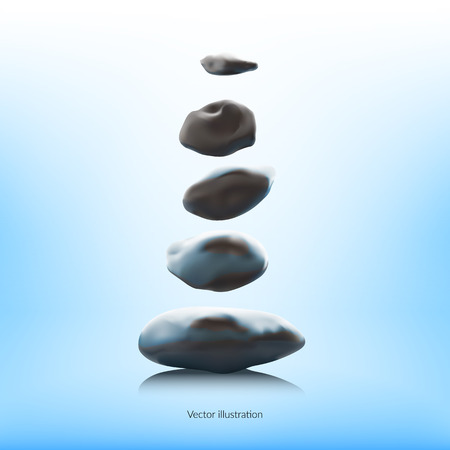 Magische stenen zwevend boven een wateroppervlak. Digitale illustratie. Zen Stock Illustratie
