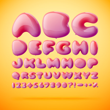 font made from balloons in letters shape. Gradient mesh Illustration