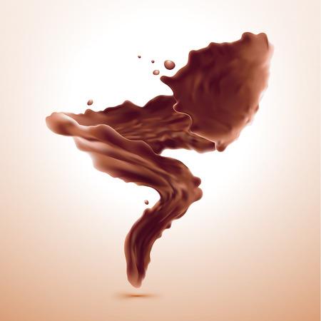 茶色のホット コーヒーや桃の色の背景に分離されたチョコレートのスプラッシュ。