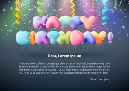 Realistic colorful Birthday poster with balloons and 3D text - background with copyspace