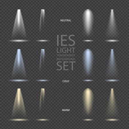 Light Effect Spotlight with Transparent Background Set Vectores