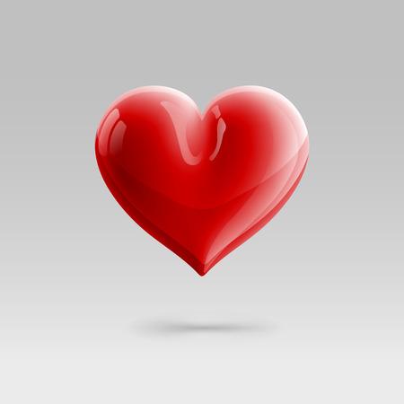 surround red glossy heart illustration. gradient mesh
