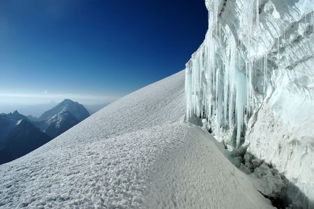 crevasse: Icicles in mountain crevasse
