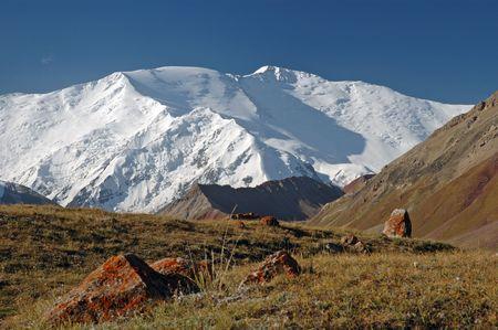 rockslide: Lenin peak from Base Camp 1