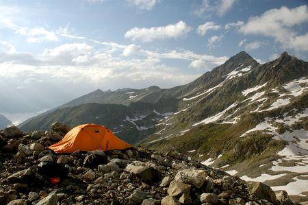 bivouac: High-altitude camp at the edge of moraine with a great view