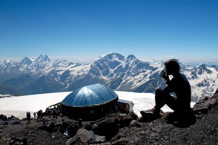 Famous Refuge Of the Eleven near Elbrus in Caucasian mountains photo