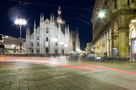 Milan cathedral at night