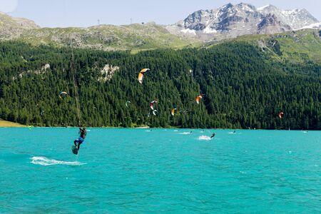 kite surfing: Kite surfing on Lake Silvaplana - St. Moritz Stock Photo