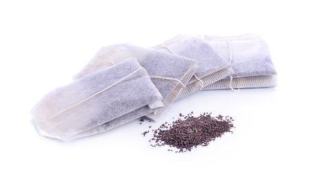 Teabag on white background