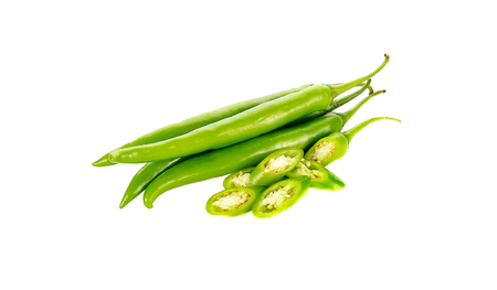 capsaicin: chili pepper green  isolated on a white background