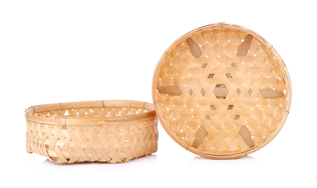 Empty Bamboo Basket on white background