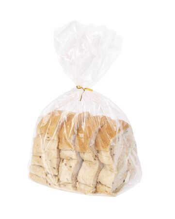 sliced bread Put a plastic bag isolated on white background