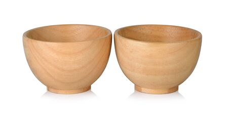 wooden Cup on white background Stock Photo