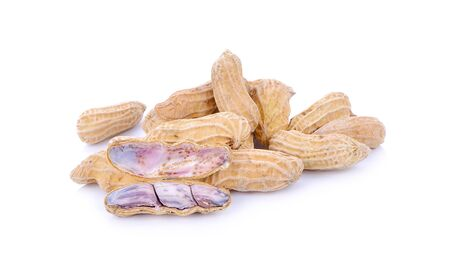 Penuts on a white background Stock Photo