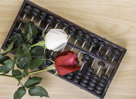 White,Red rose isolated and abacus on a wooden floor Stock Photo