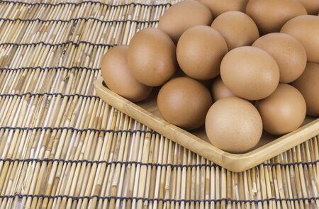 Chicken Egg , egg on wood background Stock Photo