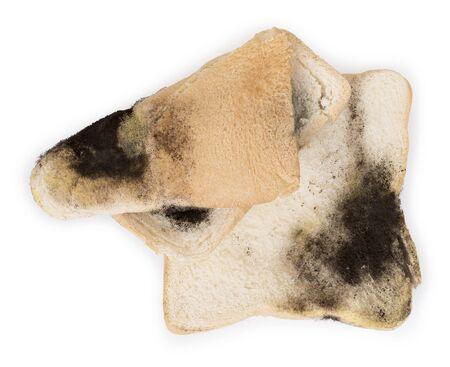 Mildew on a slice of bread. Stale bread on white background, top view Reklamní fotografie