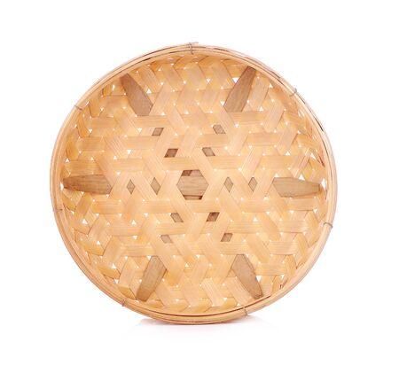 Empty Bamboo Basket on white background