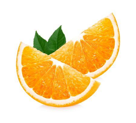 Orange fruit. Orang slice with leaves isolated on white background