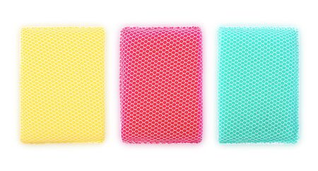 Sponges for washing household appliances and other items. Isolated on white background
