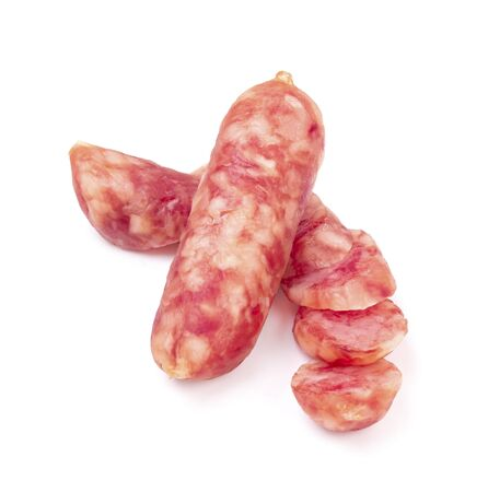 Chinese sausage isolated on white background.