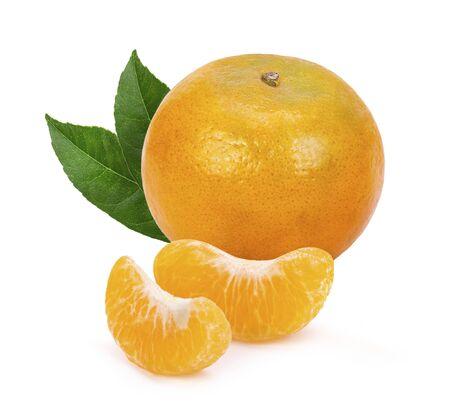 Fresh orange fruit. orange slices with leaves  isolated on white background