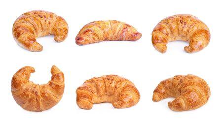 multi freshly baked croissant isolated on white background
