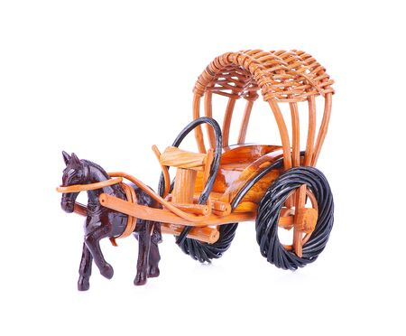 Wooden horse cart for decoration isolated on white background