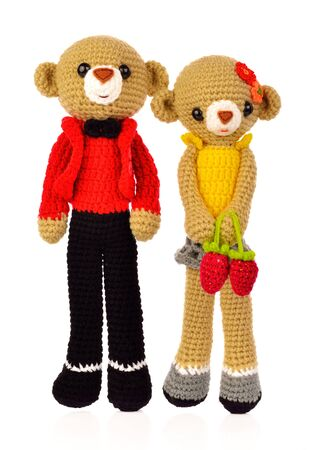Teddy Bear Female and male isolated from white background.