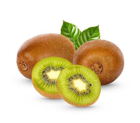 Fresh Kiwi fruit with leaves isolated on white background