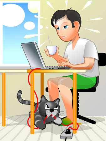 User working at laptop and his crazy cat angry photo