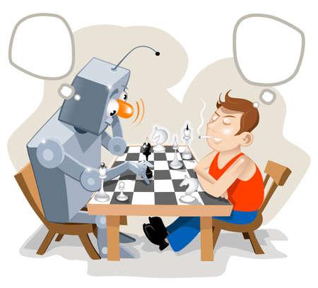 jugando ajedrez: Humanos de juego de ajedrez con super robot.