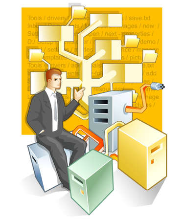 Abstract administrator and computers. Stock Photo - 3232354