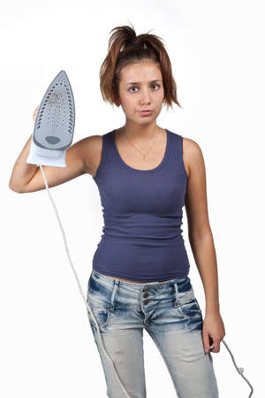 attractive brunette woman doing housework photo