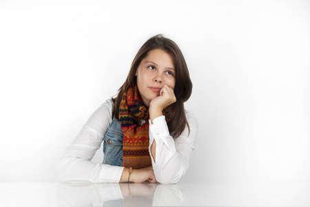 Portrait of a cute girl posing in studio