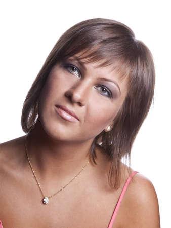 closeup portrait of brunette girl on the white