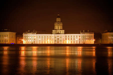 St-Petersburg, Russia at night, view from the embankment Editorial