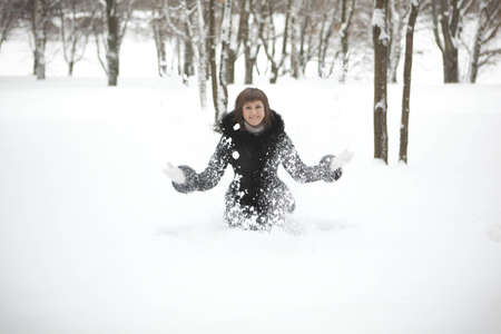 happiest girl in winter forest