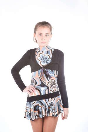 arms akimbo: teen girl in Stock Photo