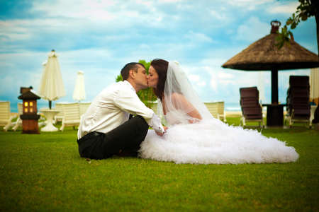 young couple during their wedding Stock Photo